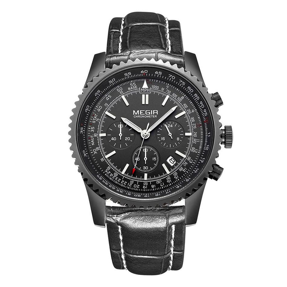 Megir Aviator Chronometer (черный корпус, черный циферблат, черный ремешок)