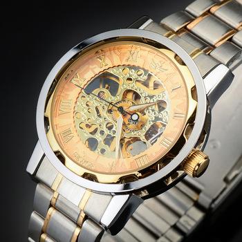 Часы Winner Prestige Skeleton Виннер Престиж Скелетон с циферблатом золотого цвета с серебристым металлическим браслетом