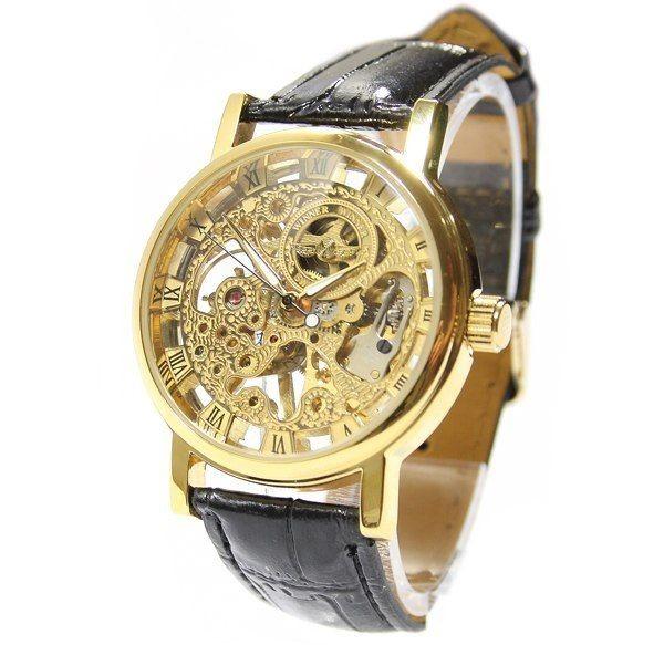крутые наручные часы скелетон виннер winner classic luxury skeleton золото