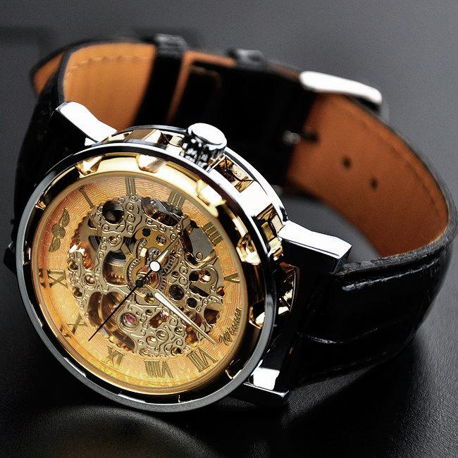 хит! крутые механические наручные часы скелетон мужские skeleton winner виннер серебряный корпус, золотой циферблат