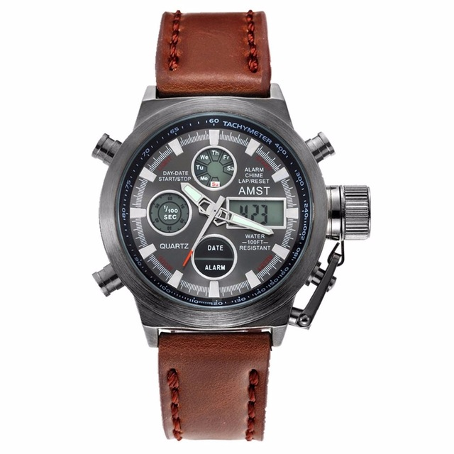 Крутые Армейские Мужские Часы AMST черный корпус из нержавеющей стали! Защита от воды! Наручные часы АМСТ для настоящих мужчин!