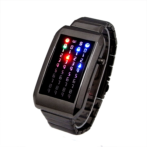 44 rock multicolored разноцветные led цифровые наручные часы серые