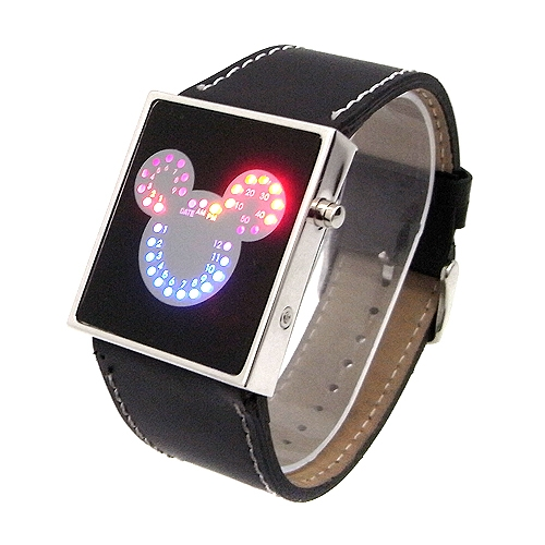 Супер ХИТ! Новый стиль! Светодиодные LED часы в виде Микки Мауса! Красные и синие светодиоды сразу