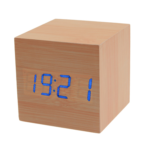 часы-будильник + термометр mini square blue led light alarm clock with temperature display wood grain style